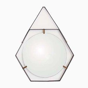 Italian Metal, Brass & Leather Hexagonal Mirror by Sant'Ambrogio & De Berti, 1960s