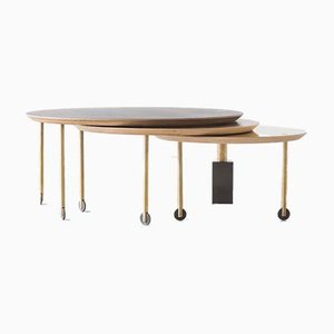 Rosewood Coffee Table with Three Sliding Tops by Veruska Gennari, 2014