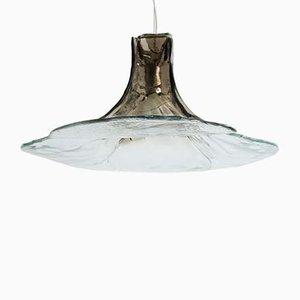 Große Rauchglas Deckenlampe von Carlo Nason für Mazzega, 1960er
