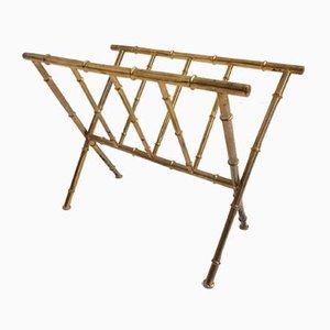 Revistero de bambú y latón de Maison Baguès, años 50