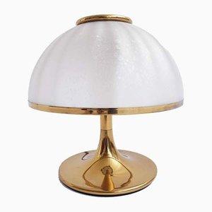 Lámpara de mesa de vidrio y latón, años 70