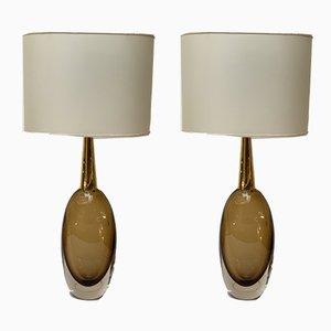 Murano Glas Tischlampen von Seguso Vetri D'Arte, 1950er, 2er Set