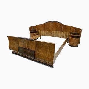 Cama doble Art Déco de nogal, años 20