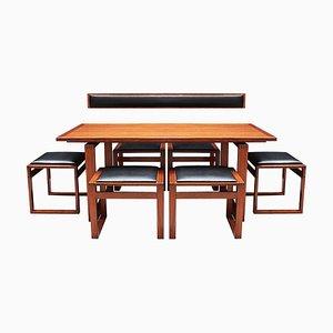 Juego de mesa de comedor y sillas danés Mid-Century de teca de Erik Buch. Juego de 8
