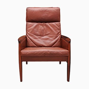 Mid-Century Danish Cognac Leather and Rosewood Lounge Chair by Hans Olsen for Brdr. Juul Kristensen