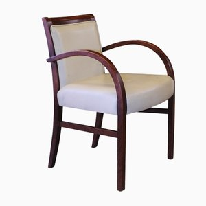 Art Deco Bentwood and Cream Leatherette Club Chair, 1930s