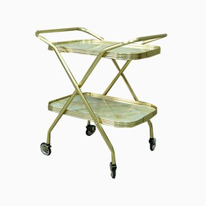 Italian Golden Folding Bar Cart, 1970s