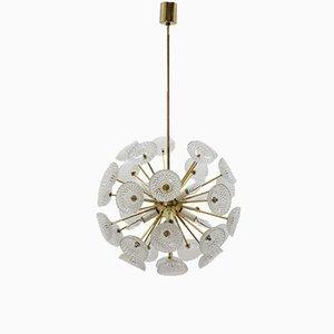 Lámpara de araña Sputnik Dandelion era espacial de Kamenický Šenov, años 70