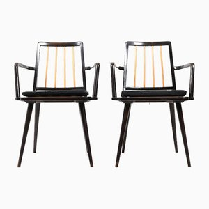Mid-Century Black Armchairs, Set of 2