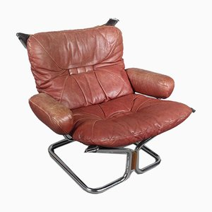 Chrome & Leather Sling Chair by Harald Relling for Westnofa, 1970s