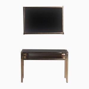 Vintage Konsolentisch und Spiegel Set aus Gold