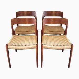 Modell 75 Esszimmerstühle von Niels Otto Møller für JL Møllers, 1960er, 4er Set