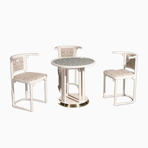 Art Nouveau Dining Table & Chairs Set by Josef Hoffmann for Wittmann, 1980s, Set of 4