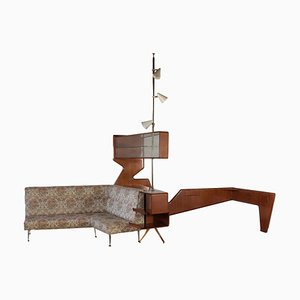 Mahogany Veneer, Brass & Glass Cabinet, 1950s