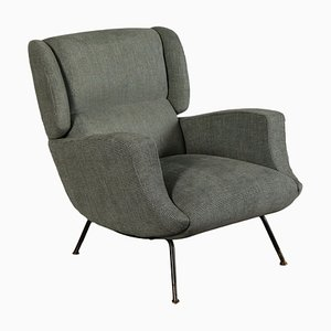 Italian Metal, Brass & Fabric Armchair, 1960s