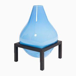 Blaue mundgeblasene Bubble Glas Square Series Vase von Studio Thier & Vandaalen