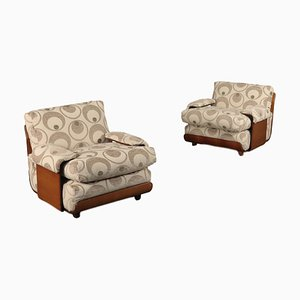 Bentwood & Fabric Armchairs, 1970s, Set of 2