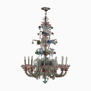 Italian Metal and Murano Glass Chandelier, 1970s
