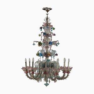 Lámpara de araña italiana de metal y cristal de Murano, años 70