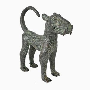 Vintage African Leopard Sculptures, Set of 2