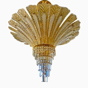Golden Opaline Glass & Gilded Chandelier from Mazzega, 1990s