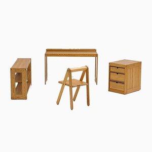 Schreibtische für Kinder von Pierre Grosjean für Junior design, 1977, 4er Set