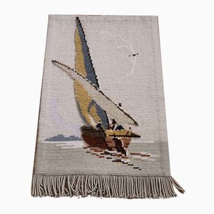 Mid-Century High-Pile Sailing Ship Tapestry