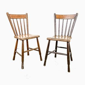 Antique Farmhouse Chairs, Set of 2