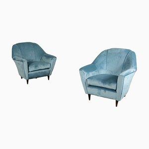 Mid-Century Italian Velvet Armchairs, Set of 2