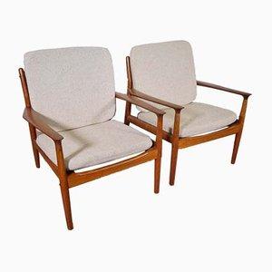 Modell 218 Armlehnstühle aus Teak von Grete Jalk für Glostrup, 1960er, 2er Set