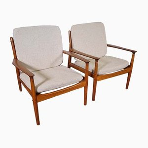 Teak Model 218 Armchairs by Grete Jalk for Glostrup, 1960s, Set of 2