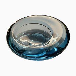 Ovale dänische Schale aus Glas von Per Lütken für Holmegaard, 1960er