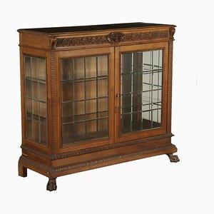 Vintage Italian Neo-Renaissance Glass & Walnut Cabinet