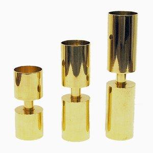 Schwedische Messing Kerzenhalter von Thelma Zoega für Götpacker AB, 1976, 3er Set