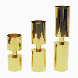 Swedish Brass Candleholders by Thelma Zoega for Götpapper AB, 1976, Set of 3