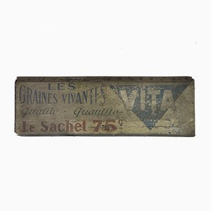 French Modern Wooden Vita Les Graines Vivantes Sign, 1950s
