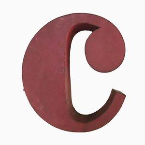 Cartel de letra C vintage de plexiglás