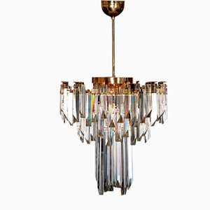 Murano Kristallglas Prismen Deckenlampe, 1960er