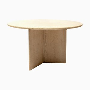 Round Travertine Dining Table, 1970s