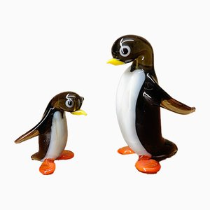 Blown Glass Penguin Figurines from Lauscha, 1960s, Set of 2