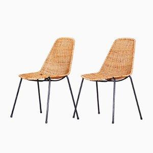 Scandinavian Rattan & Metal Chairs, 1960s, Set of 2