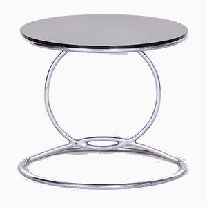 Bauhaus Style Chrome & Glass Side Table, 1950s