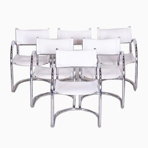 German Chrome & Leather Armchairs, 1970s, Set of 6