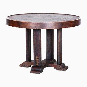 Small Czech Art Deco Oak Side Table, 1920s