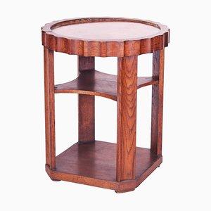 Small Czech Art Deco Oak & Copper Side Table, 1920s