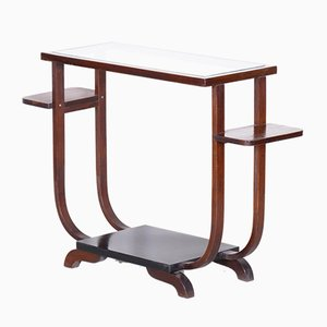 French Art Deco Beech & Glass Flower Side Table, 1920s