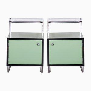 Bauhaus Green & Glass Nightstands from Vichr, 1930s, Set of 2