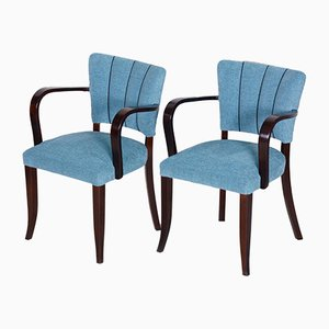 French Art Deco Oak Armchairs, 1930s, Set of 2