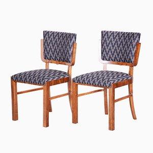 French Art Deco Walnut Chairs, 1930s, Set of 6
