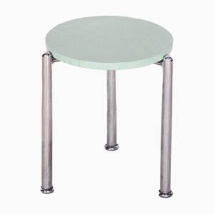 Small Czech Bauhaus Chrome & Lacquered Wood Side Table, 1930s